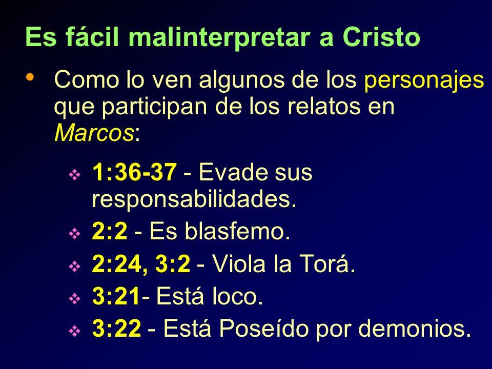 Es fácil malinterpretar a Cristo Como lo ven algunos de los personajes que participan de los relatos en Marcos: 1:36-37 - Evade sus responsabilidades.