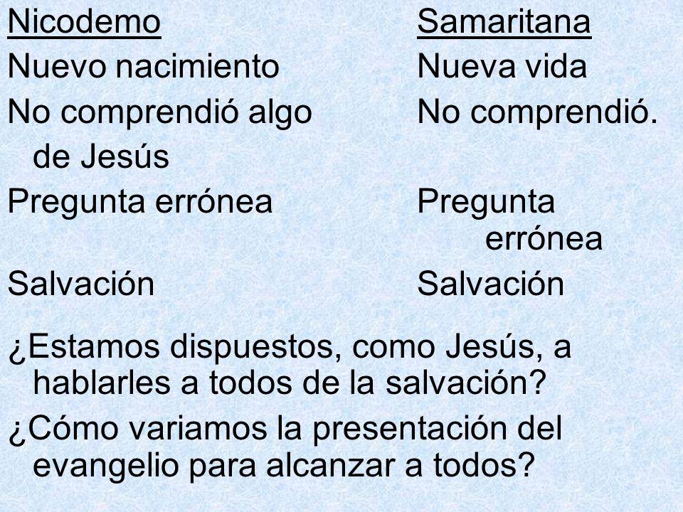 NicodemoSamaritana Nuevo nacimientoNueva vida No comprendió algo No comprendió. de Jesús Pregunta erróneaPregunta erróneaSalvación ¿Estamos dispuestos