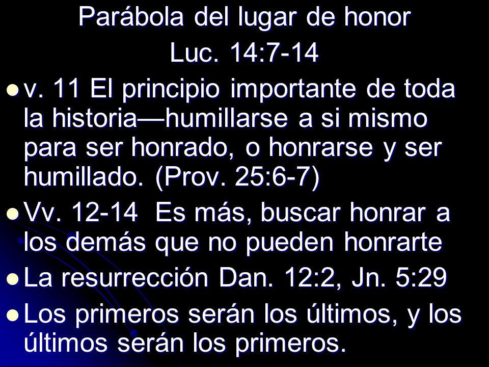Parábola del lugar de honor Luc. 14:7-14 v. 11 El principio importante de toda la historiahumillarse a si mismo para ser honrado, o honrarse y ser hum
