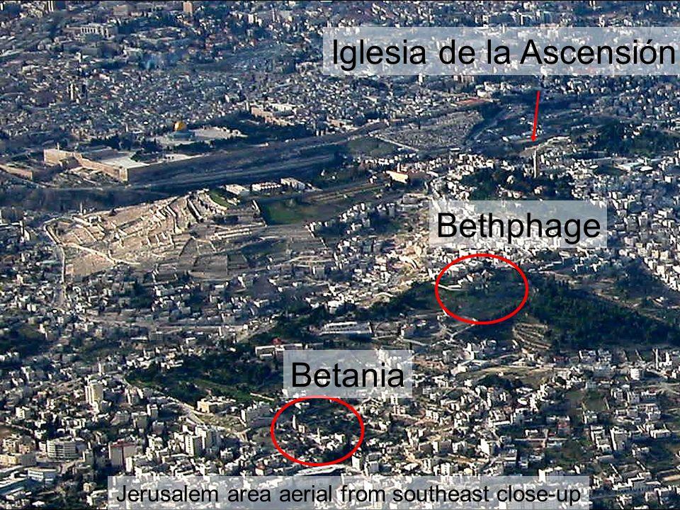 Jerusalem area aerial from southeast close-up Betania Bethphage Iglesia de la Ascensión