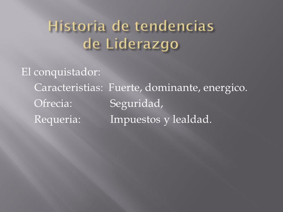 El conquistador: Caracteristias: Fuerte, dominante, energico. Ofrecia: Seguridad, Requeria: Impuestos y lealdad.