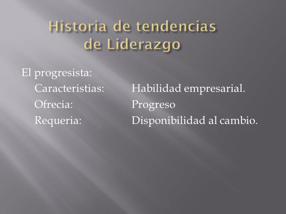 El progresista: Caracteristias:Habilidad empresarial. Ofrecia:Progreso Requeria:Disponibilidad al cambio.