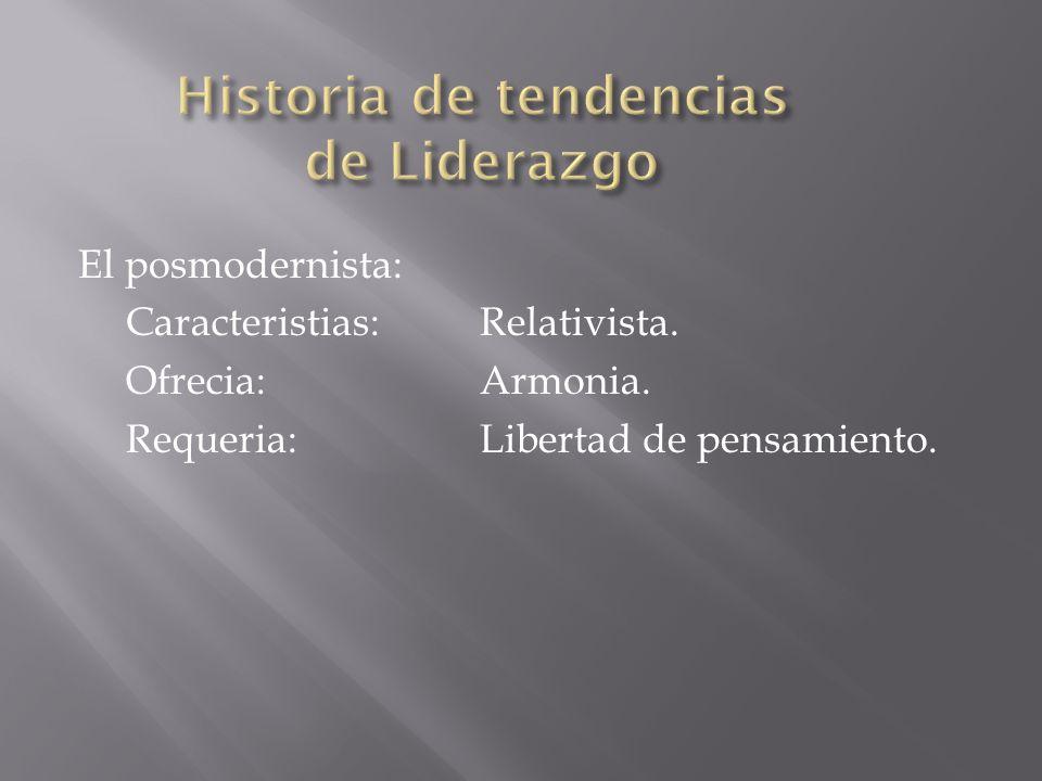 El posmodernista: Caracteristias:Relativista. Ofrecia:Armonia. Requeria:Libertad de pensamiento.