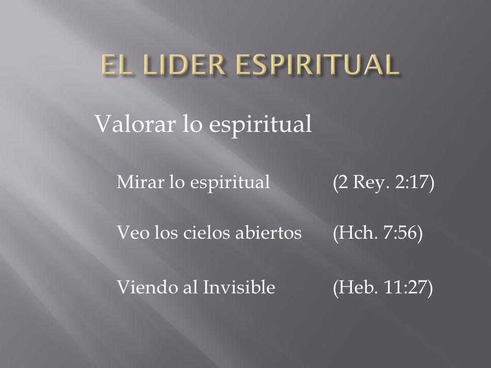 Valorar lo espiritual Mirar lo espiritual(2 Rey. 2:17) Veo los cielos abiertos (Hch. 7:56) Viendo al Invisible(Heb. 11:27)