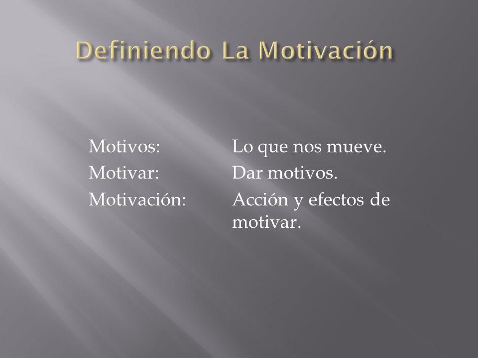 Motivos:Lo que nos mueve. Motivar:Dar motivos. Motivación:Acción y efectos de motivar.