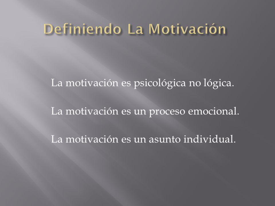 La motivación es psicológica no lógica. La motivación es un proceso emocional. La motivación es un asunto individual.