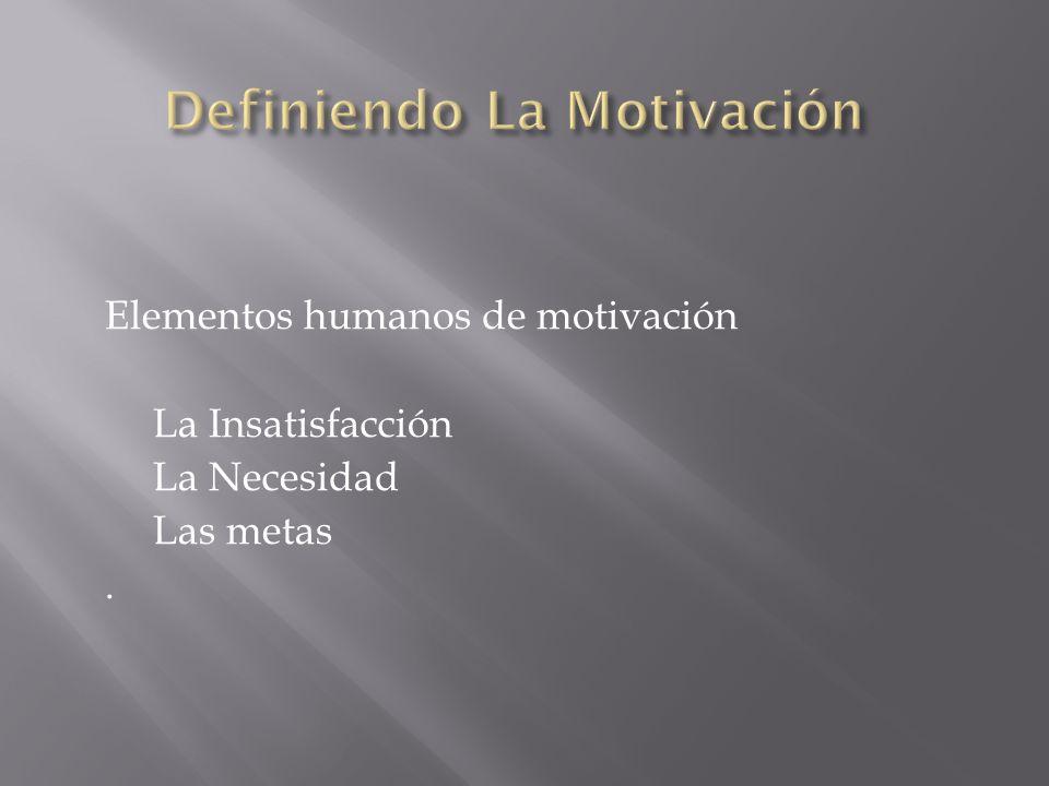 Elementos humanos de motivación La Insatisfacción La Necesidad Las metas.