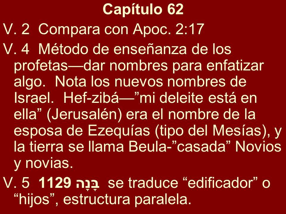 Capítulo 62 V. 2 Compara con Apoc. 2:17 V. 4 Método de enseñanza de los profetasdar nombres para enfatizar algo. Nota los nuevos nombres de Israel. He