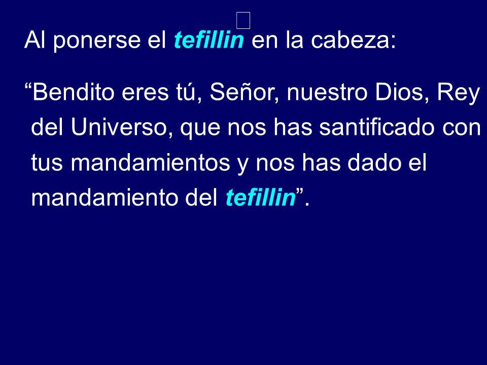 Al ponerse el tefillin en la cabeza: Bendito eres tú, Señor, nuestro Dios, Rey del Universo, que nos has santificado con tus mandamientos y nos has da