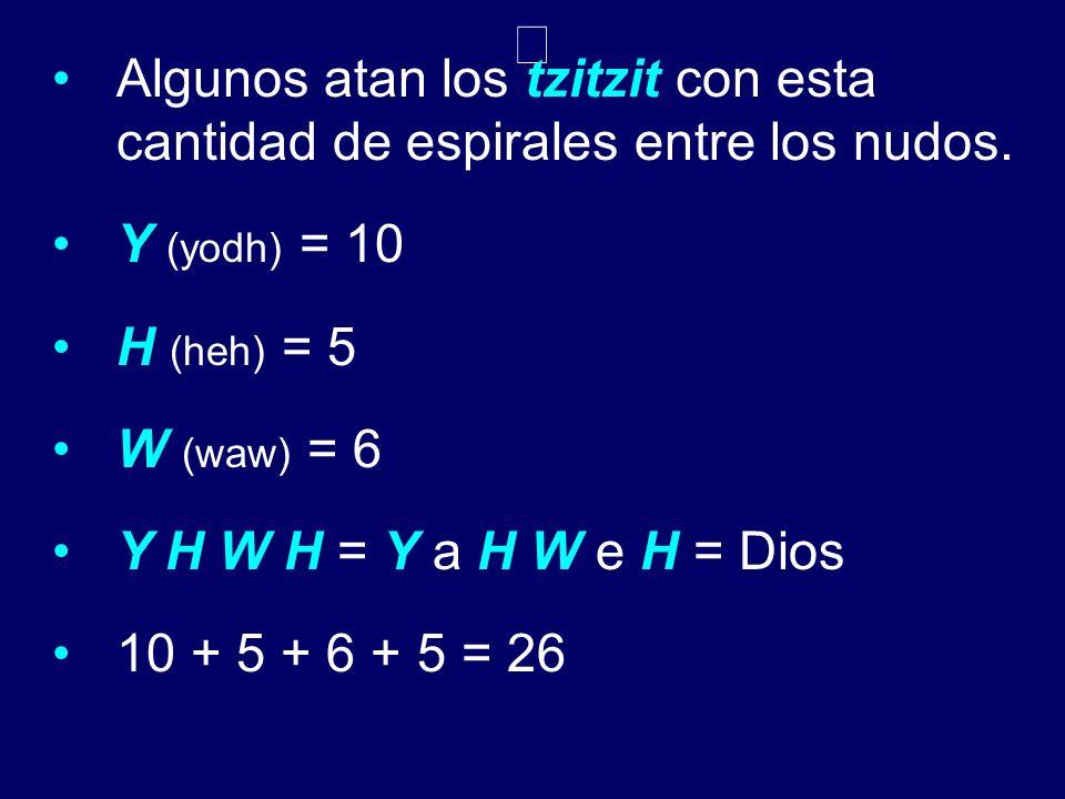 Algunos atan los tzitzit con esta cantidad de espirales entre los nudos. Y (yodh) = 10 H (heh) = 5 W (waw) = 6 Y H W H = Y a H W e H = Dios 10 + 5 + 6