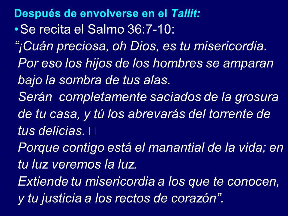 Después de envolverse en el Tallit: Se recita el Salmo 36:7-10: ¡Cuán preciosa, oh Dios, es tu misericordia. Por eso los hijos de los hombres se ampar