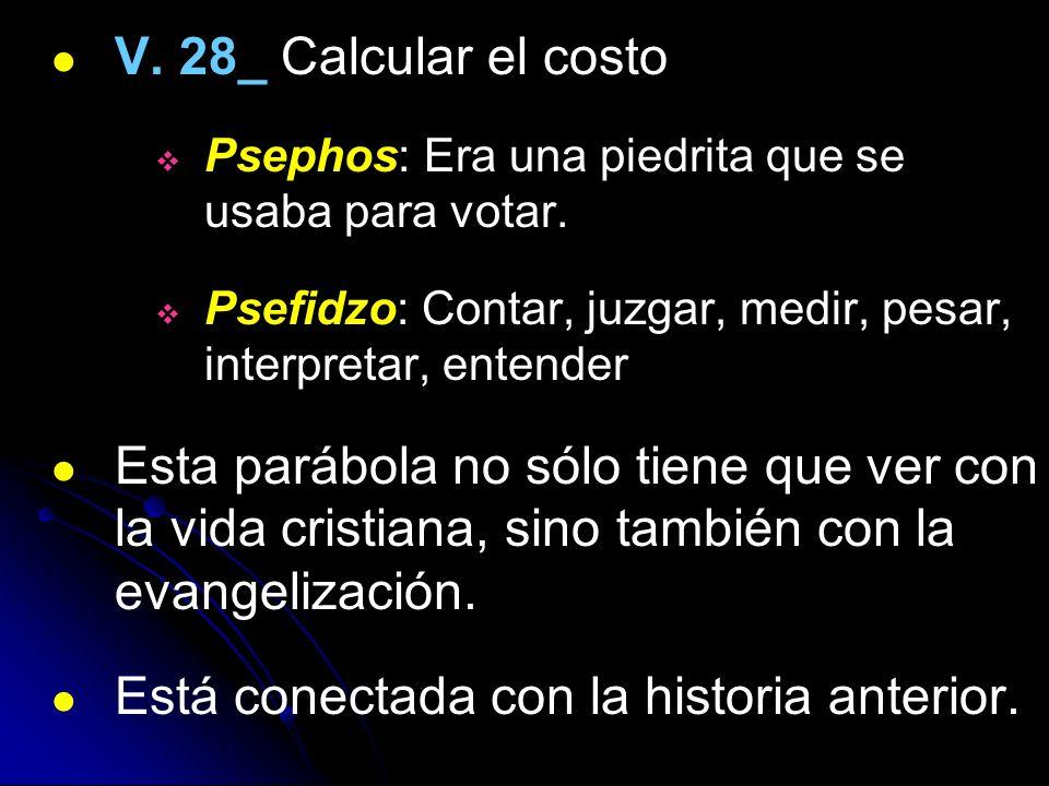 V. 28_ Calcular el costo Psephos: Era una piedrita que se usaba para votar. Psefidzo: Contar, juzgar, medir, pesar, interpretar, entender Esta parábol