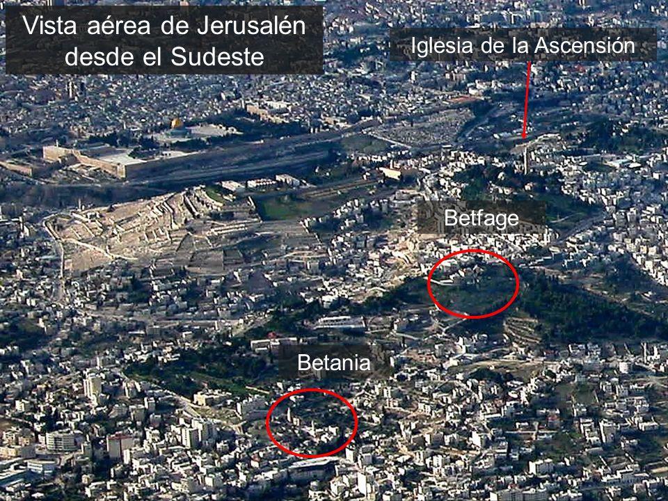 Vista aérea de Jerusalén desde el Sudeste Betania Iglesia de la Ascensión Betfage