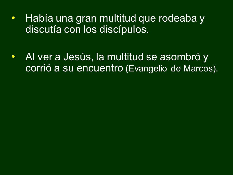 Había una gran multitud que rodeaba y discutía con los discípulos. Al ver a Jesús, la multitud se asombró y corrió a su encuentro (Evangelio de Marcos