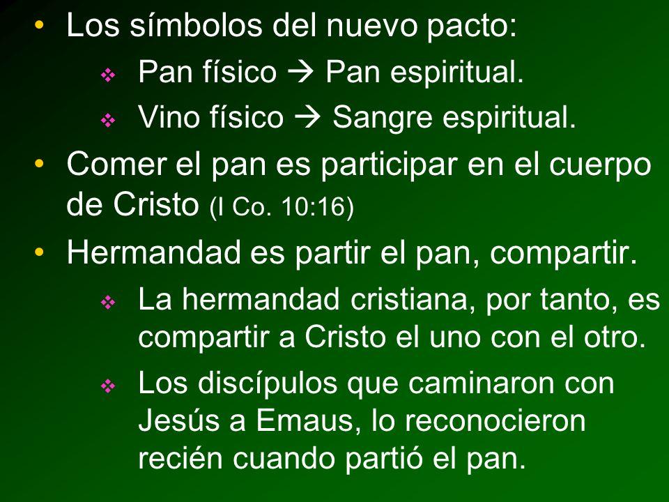 Los símbolos del nuevo pacto: Pan físico Pan espiritual.