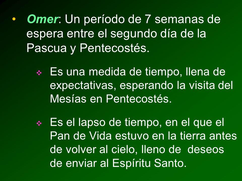 Omer: Un período de 7 semanas de espera entre el segundo día de la Pascua y Pentecostés.