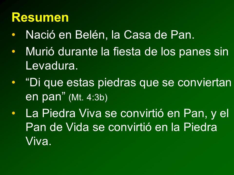 Resumen Nació en Belén, la Casa de Pan.Murió durante la fiesta de los panes sin Levadura.