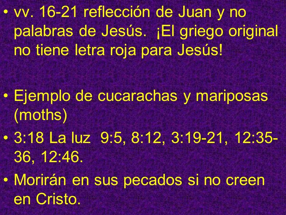 vv. 16-21 reflección de Juan y no palabras de Jesús. ¡El griego original no tiene letra roja para Jesús! Ejemplo de cucarachas y mariposas (moths) 3:1