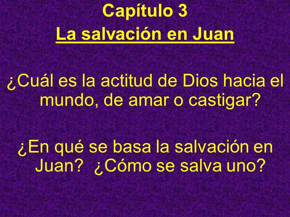 Capítulo 3 La salvación en Juan ¿Cuál es la actitud de Dios hacia el mundo, de amar o castigar? ¿En qué se basa la salvación en Juan? ¿Cómo se salva u