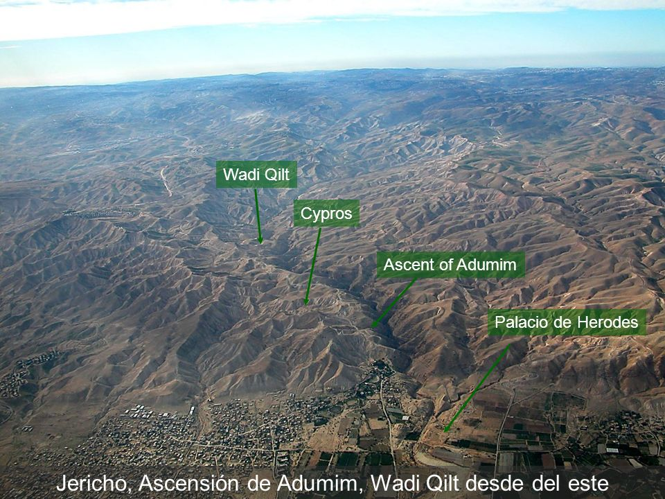 Jericho, Ascensión de Adumim, Wadi Qilt desde del este Wadi Qilt Cypros Ascent of Adumim Palacio de Herodes