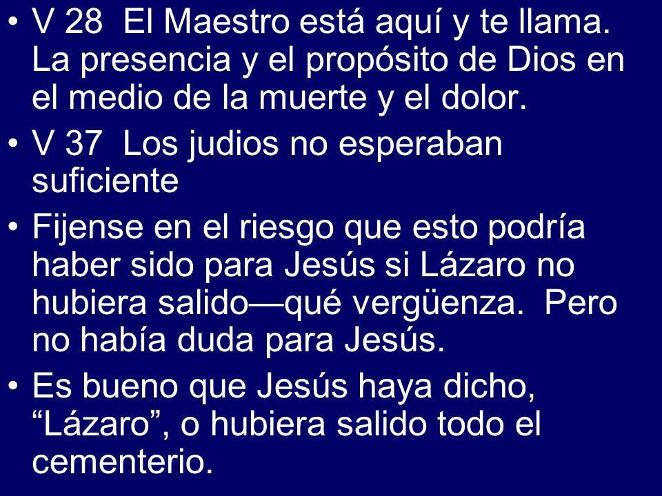 V 28 El Maestro está aquí y te llama. La presencia y el propósito de Dios en el medio de la muerte y el dolor. V 37 Los judios no esperaban suficiente