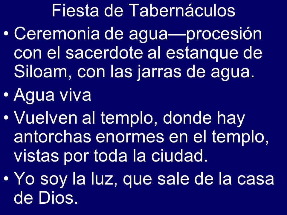 Fiesta de Tabernáculos Ceremonia de aguaprocesión con el sacerdote al estanque de Siloam, con las jarras de agua. Agua viva Vuelven al templo, donde h