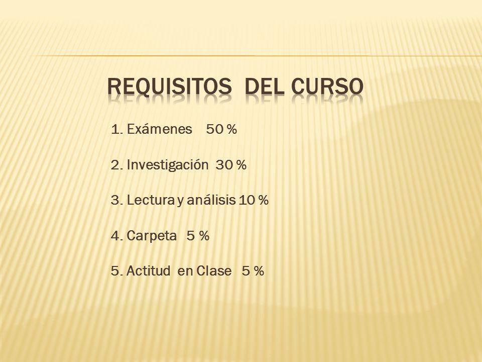 1. Exámenes 50 % 2. Investigación 30 % 3. Lectura y análisis 10 % 4. Carpeta 5 % 5. Actitud en Clase 5 %