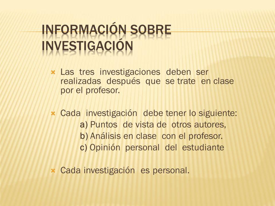 Las tres investigaciones deben ser realizadas después que se trate en clase por el profesor. Cada investigación debe tener lo siguiente: a) Puntos de