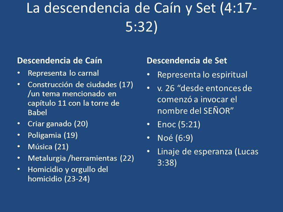 La descendencia de Caín y Set (4:17- 5:32) Descendencia de Caín Representa lo carnal Construcción de ciudades (17) /un tema mencionado en capítulo 11