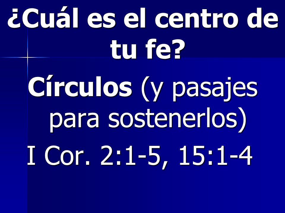 ¿Cuál es el centro de tu fe. Círculos (y pasajes para sostenerlos) I Cor.
