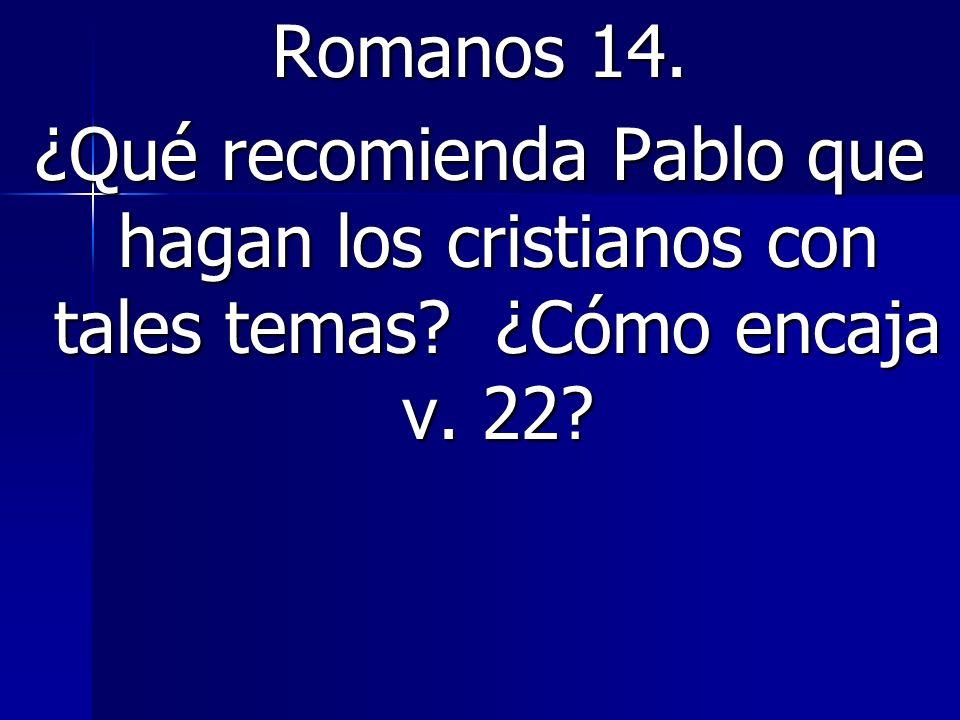 Romanos 14. ¿Qué recomienda Pablo que hagan los cristianos con tales temas ¿Cómo encaja v. 22