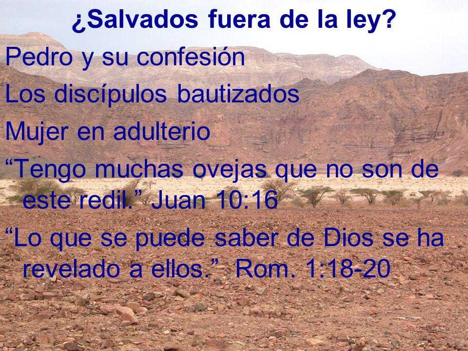 ¿Salvados fuera de la ley? Pedro y su confesión Los discípulos bautizados Mujer en adulterio Tengo muchas ovejas que no son de este redil. Juan 10:16