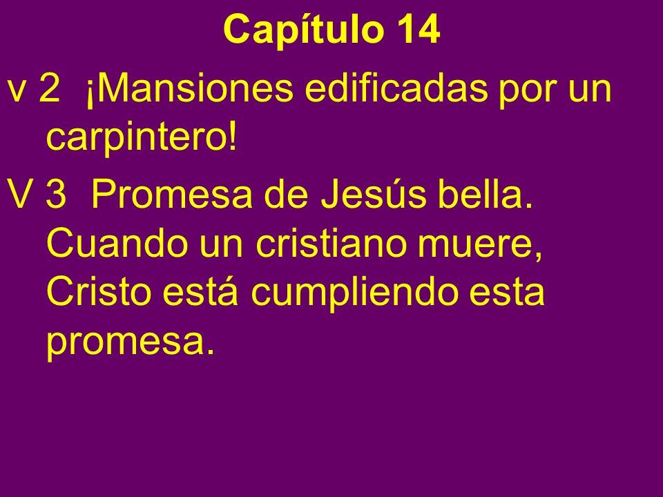 Capítulo 14 v 2 ¡Mansiones edificadas por un carpintero! V 3 Promesa de Jesús bella. Cuando un cristiano muere, Cristo está cumpliendo esta promesa.