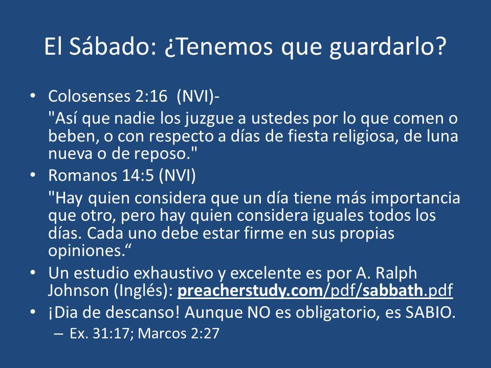 El Sábado: ¿Tenemos que guardarlo? Colosenses 2:16 (NVI)-