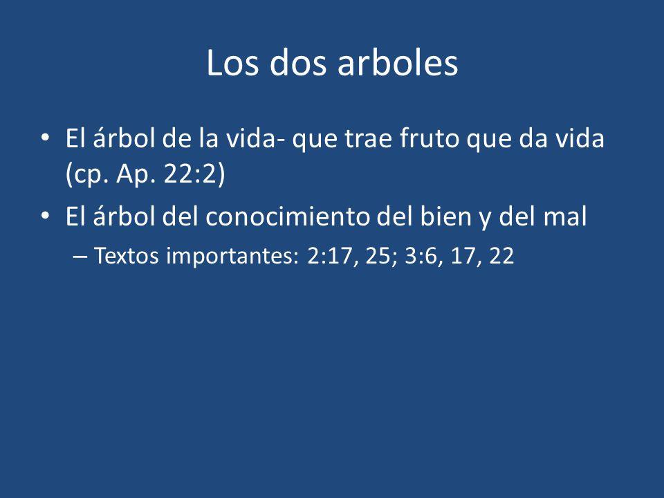 Los dos arboles El árbol de la vida- que trae fruto que da vida (cp. Ap. 22:2) El árbol del conocimiento del bien y del mal – Textos importantes: 2:17