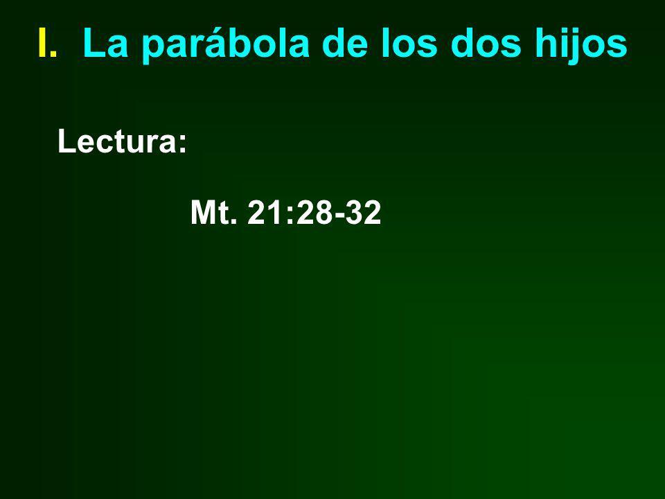 I. La parábola de los dos hijos Lectura: Mt. 21:28-32