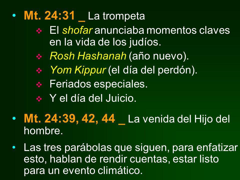 Mt. 24:31 _ La trompeta El shofar anunciaba momentos claves en la vida de los judíos. Rosh Hashanah (año nuevo). Yom Kippur (el día del perdón). Feria
