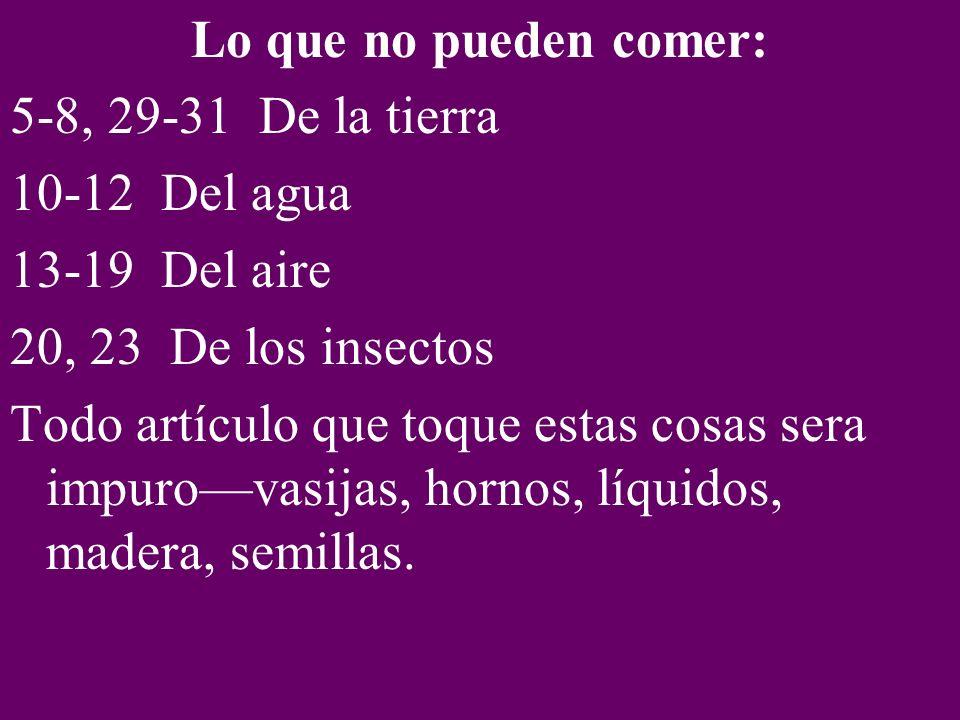Lo que no pueden comer: 5-8, 29-31 De la tierra 10-12 Del agua 13-19 Del aire 20, 23 De los insectos Todo artículo que toque estas cosas sera impurova