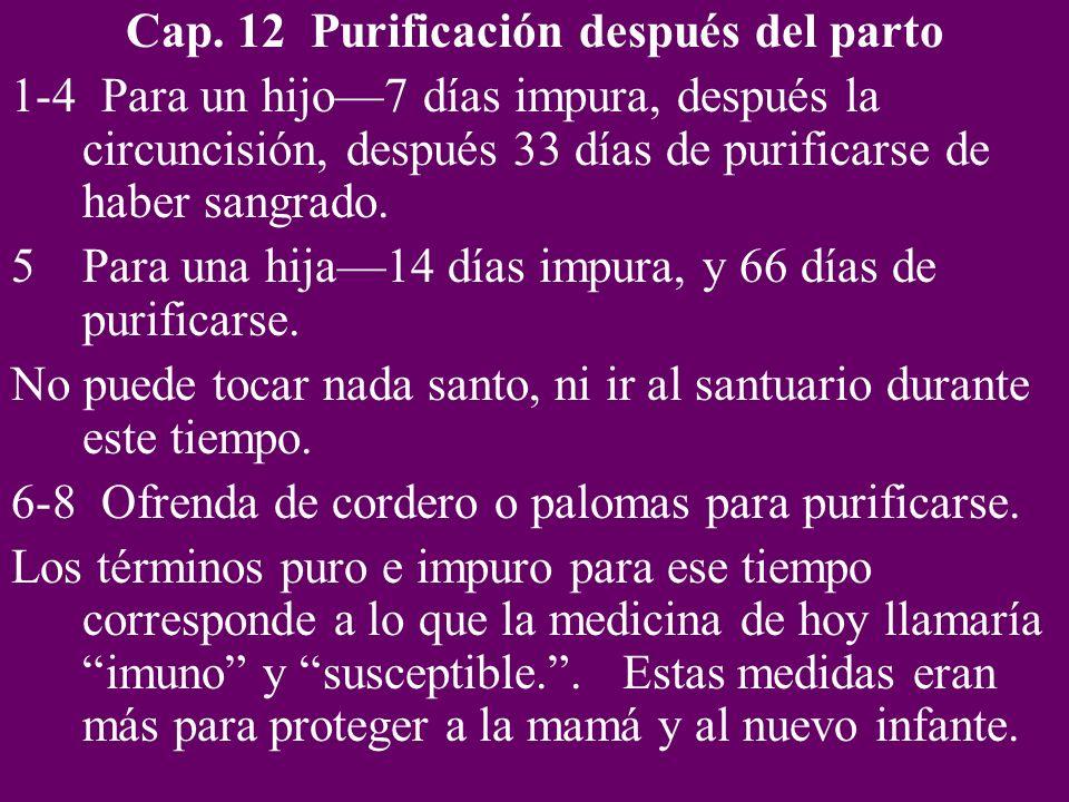 Cap. 12 Purificación después del parto 1-4 Para un hijo7 días impura, después la circuncisión, después 33 días de purificarse de haber sangrado. 5Para