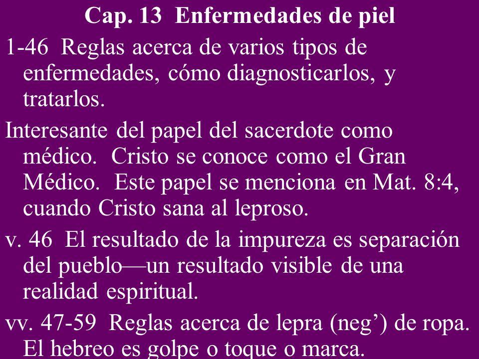 Cap. 13 Enfermedades de piel 1-46 Reglas acerca de varios tipos de enfermedades, cómo diagnosticarlos, y tratarlos. Interesante del papel del sacerdot