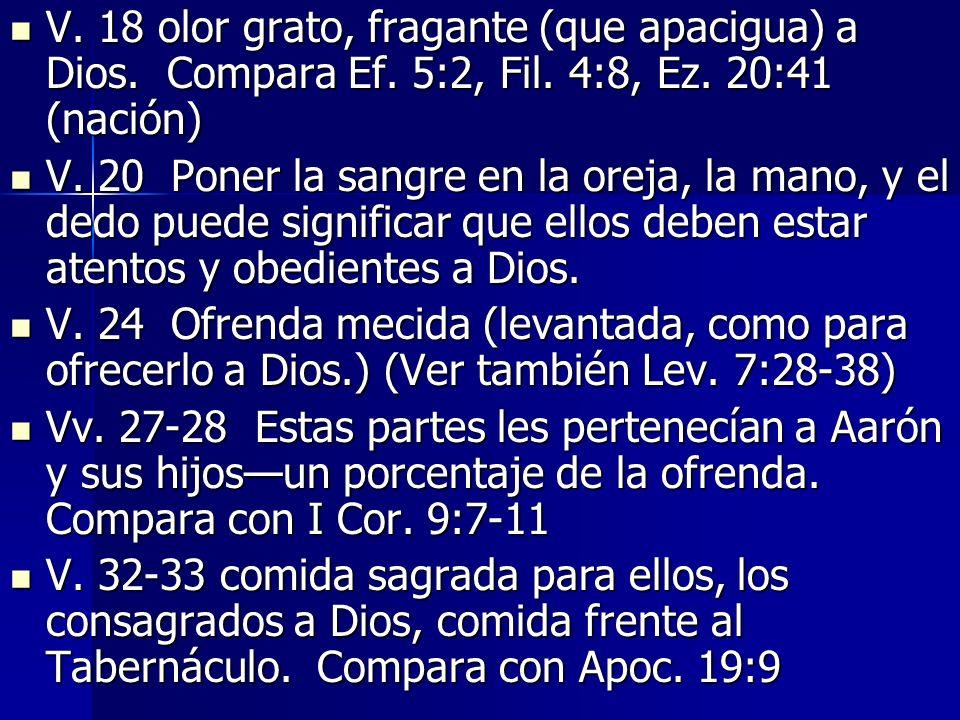 V.18 olor grato, fragante (que apacigua) a Dios. Compara Ef.