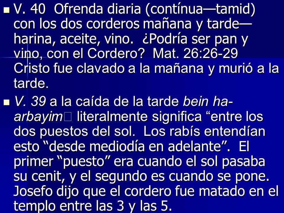 V.40 Ofrenda diaria (contínuatamid) con los dos corderos mañana y tarde harina, aceite, vino.