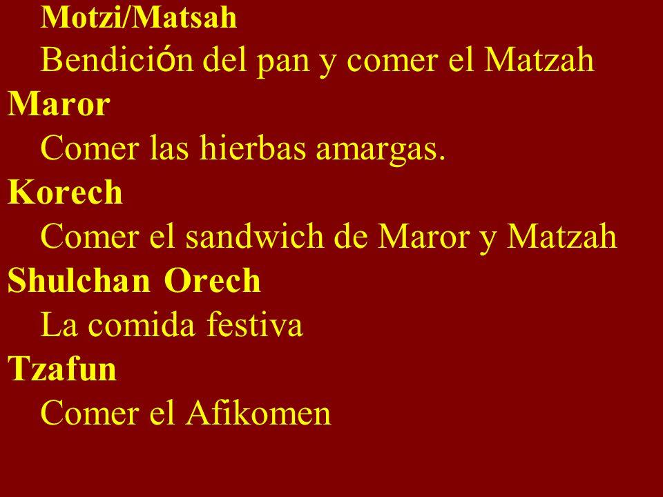 Motzi/Matsah Bendici ó n del pan y comer el Matzah Maror Comer las hierbas amargas. Korech Comer el sandwich de Maror y Matzah Shulchan Orech La comid