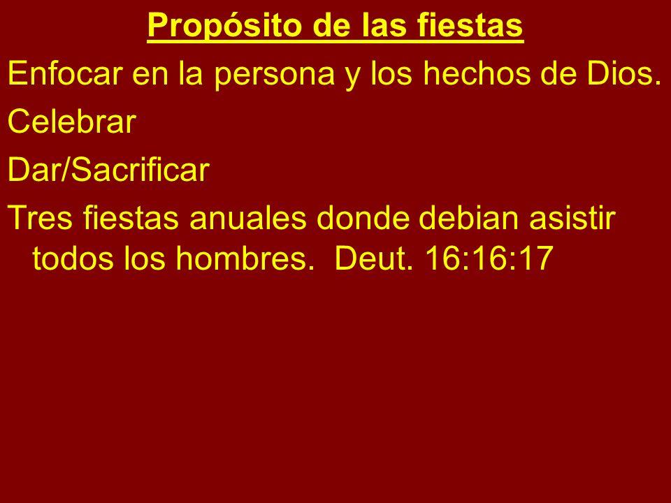 Propósito de las fiestas Enfocar en la persona y los hechos de Dios. Celebrar Dar/Sacrificar Tres fiestas anuales donde debian asistir todos los hombr