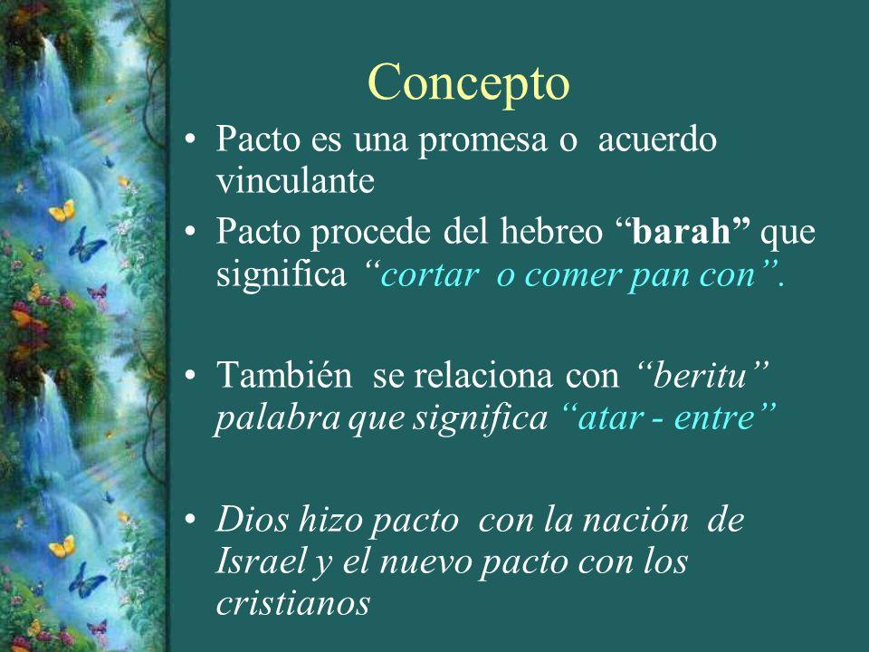 Concepto Pacto es una promesa o acuerdo vinculante Pacto procede del hebreo barah que significa cortar o comer pan con. También se relaciona con berit
