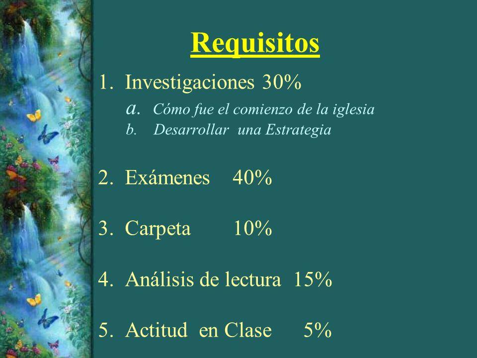 Requisitos 1. Investigaciones 30% a. Cómo fue el comienzo de la iglesia b. Desarrollar una Estrategia 2. Exámenes 40% 3. Carpeta 10% 4. Análisis de le