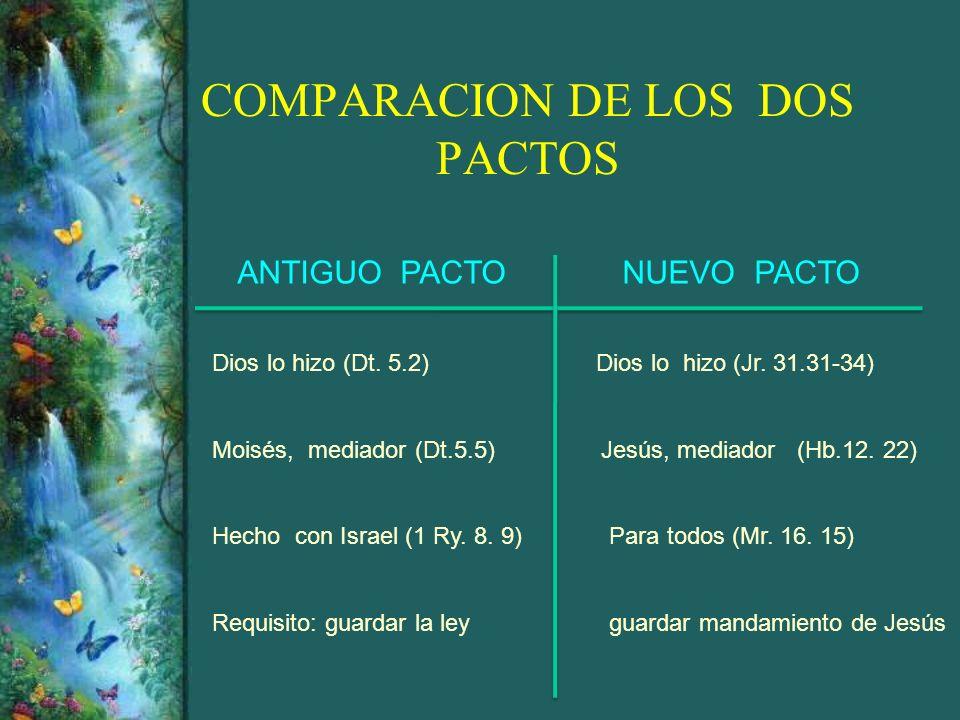COMPARACION DE LOS DOS PACTOS ANTIGUO PACTO NUEVO PACTO Dios lo hizo (Dt. 5.2)Dios lo hizo (Jr. 31.31-34) Moisés, mediador (Dt.5.5) Jesús, mediador (H