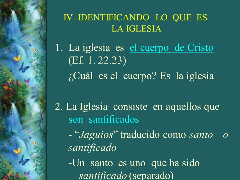 IV. IDENTIFICANDO LO QUE ES LA IGLESIA 1.La iglesia es el cuerpo de Cristo (Ef. 1. 22.23) ¿Cuál es el cuerpo? Es la iglesia 2. La Iglesia consiste en