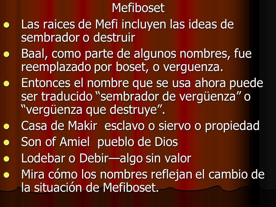 Mefiboset Las raices de Mefi incluyen las ideas de sembrador o destruir Las raices de Mefi incluyen las ideas de sembrador o destruir Baal, como parte