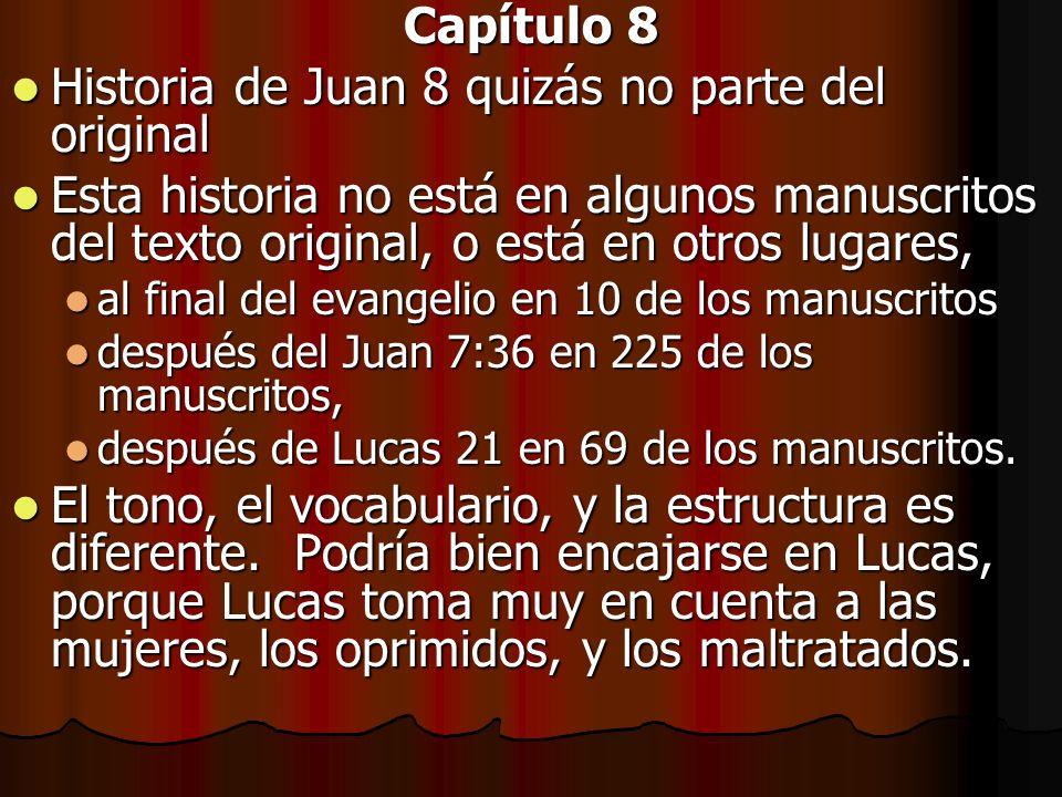 Capítulo 8 Historia de Juan 8 quizás no parte del original Historia de Juan 8 quizás no parte del original Esta historia no está en algunos manuscrito